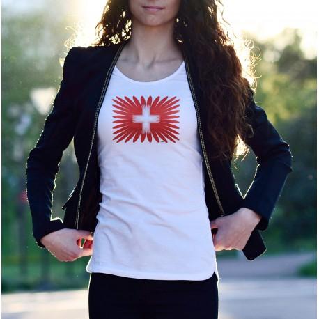T-Shirt mode dame - Swiss Projection - drapeau Suisse