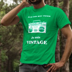 T-shirt coton mode homme - Vintage radio, 47-Vert Kelly