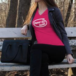 Donna Moda cotone T-Shirt - Sweet Girl Inside, 57-Fucsia