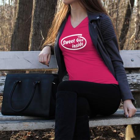 Women's Fashion cotton T-Shirt - Sweet Girl Inside, 57-Fuchsia
