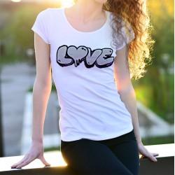 Graffiti ❤ LOVE ❤ T-Shirt mode dame avec le mot LOVE (Amour) issu d'un vrai graffiti
