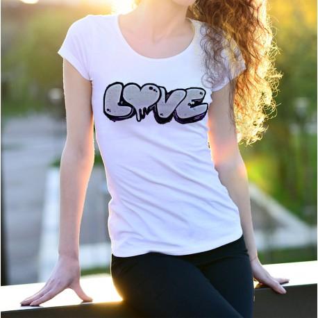Donna moda T-shirt -  LOVE graffiti