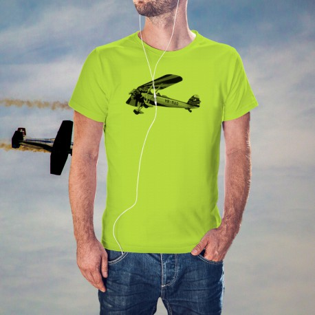 "Fashion Men's Aircraft T-Shirt - Morane-Saulnier MS317"", Safety Yellow"