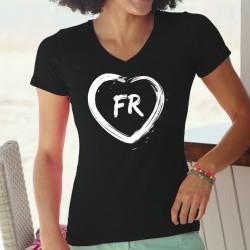 Frauen Baumwolle T-Shirt - herzförmiger Pinselstrich und FR-Buchstaben für den Kanton Freiburg