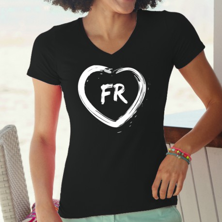 Lady cotton t-shirt - heart shaped brush stroke and FR letters for Canton Fribourg