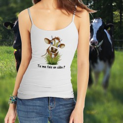 Women's Cow Fashion Top - Tu me fais un câlin ?, White