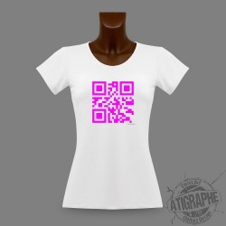 "T-Shirt Slim QR-Code ""Célibataire"", QR-Code Magenta"