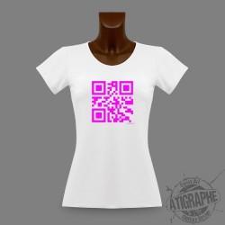 Women's slim T-Shirt QR-code - Célibataire, Magenta