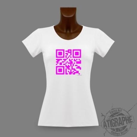 Frauen slim T-Shirt QR-code - Célibataire, Magenta