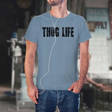 Herrenmode Humoristisch T-Shirt - THUG LIFE, Blizzard Blue