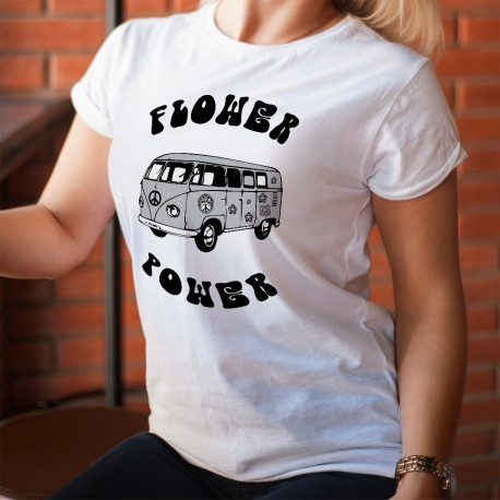 Frauenmode lustig T-shirt -  VW Camper Flower Power