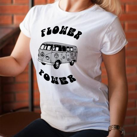 T-Shirt humoristique mode dame - VW bus Combi Hippie Flower Power (fleurs psychédéliques)