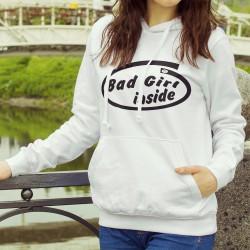 Donna moda Felpa bianco a cappuccio - Bad Girl inside (cattiva ragazza dentro)