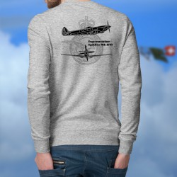 Supermarine Spitfire MkXVI ★ avion de légende ★ Pull-over homme blueprint avec les armes de la Royal Air Force (RAF)