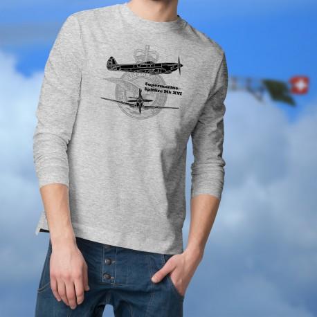 Supermarine Spitfire MkXVI ★ avion de légende ★ Pull-over homme blueprint avec les armes de la Royal Air Force (RAF)