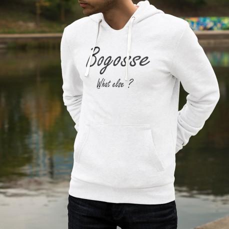 """Pull-over blanc à capuche pour homme - Bogosse, What else ? Espresso expression pour """"Je suis beau gosse, quoi d'autre ?"""""""