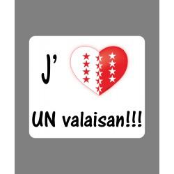 Sticker - J'aime un Valaisan - pour voiture