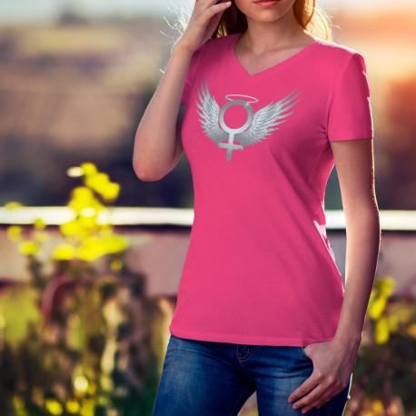 Women's Fashion cotton T-Shirt - Venus Angel, 57-Fuchsia