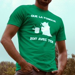 Men's cotton T-Shirt - Que la Fondue soit avec Toi, 47-Kelly Green