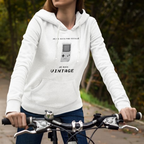 Donna moda Sweat bianco a cappuccio - Vintage Gameboy
