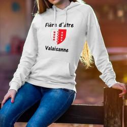 Fière d'être Valaisanne ❤ drapeau du canton du Valais ❤ Pull à capuche mode dame
