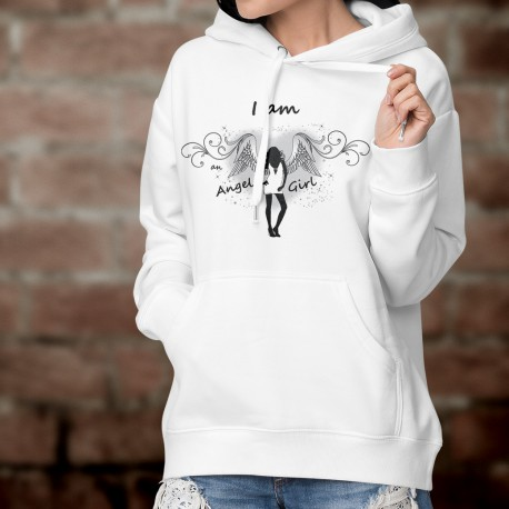 Sweatshirt blanc à capuche mode dame - I am an Angel Girl