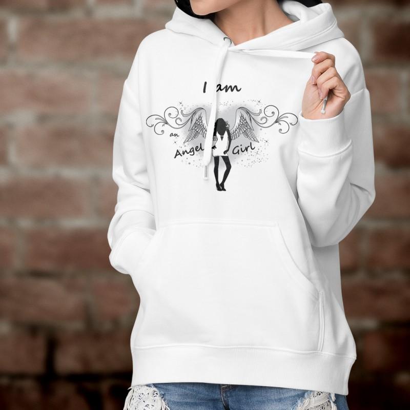 frauenmode kapuzen sweatshirt i am an angel girl. Black Bedroom Furniture Sets. Home Design Ideas