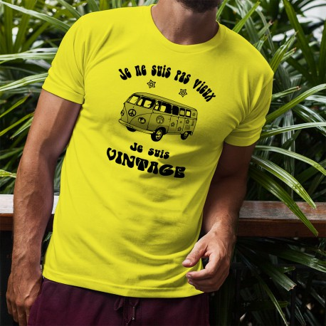 Uomo Funny T-Shirt - Vintage Flower Power, Safety Yellow