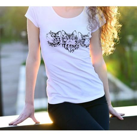 T-Shirt mode dame - Tatouage de têtes de Chats tribaux