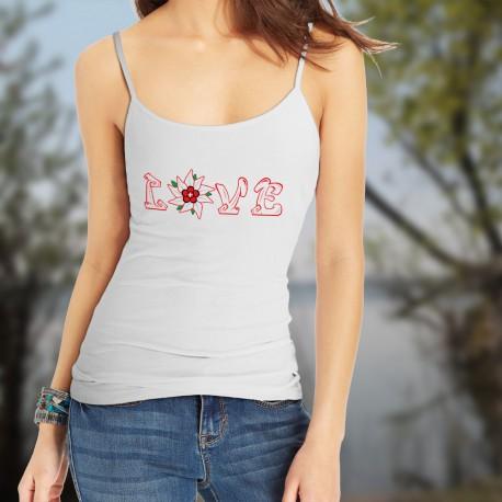 Top débardeur mode dame - Love Swiss Edelweiss, White