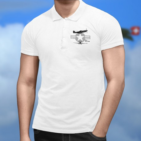 Men's Polo Shirt - Fighter Aircraft - P-51 Mustang