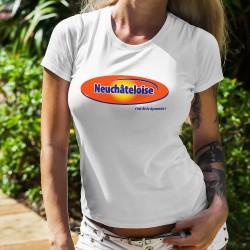 T-Shirt mode femme - Neuchâteloise, c'est de la dynamite ! (logo d'une pâte à tartiner au malt et chocolat)