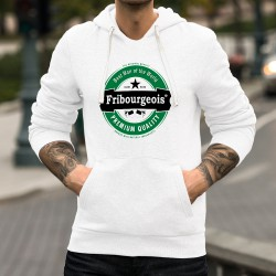 Sweatshirt blanc à capuche - Fribourgeois, Best Man of the World