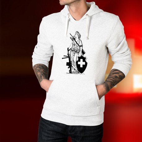 Sweatshirt blanc à capuche - New Dame Helvetia