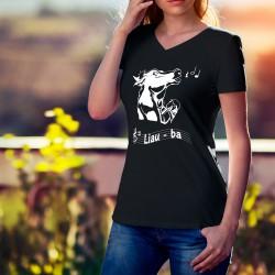 Liauba ★ Le Ranz des vaches de la Gruyère ★ T-Shirt coton dame avec une vache entrain de chanter