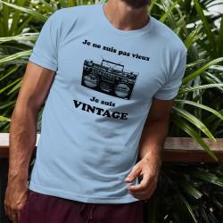 Men's Funny T-Shirt - Vintage radio, Blizzard Blue