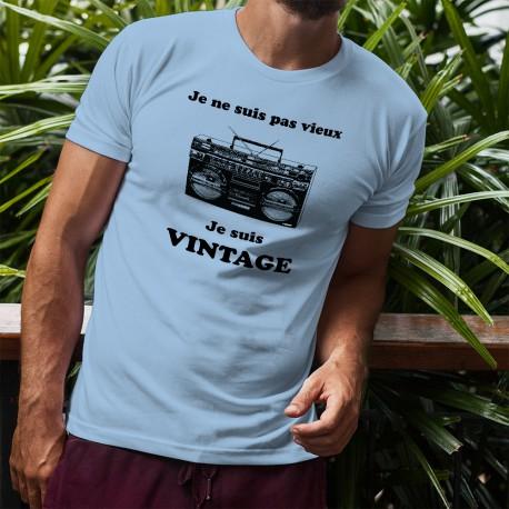 T-Shirt humoristique - Vintage radio - mode homme, Je ne suis pas vieux, je suis vintage - Ghetto blaster