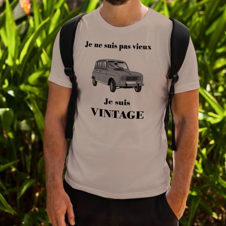 T-Shirt humoristique mode homme - Vintage Renault 4L, November White
