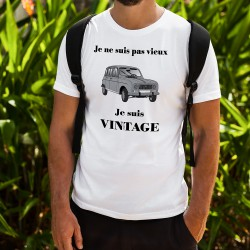Men's Funny fashion T-Shirt - Vintage Renault 4L, White