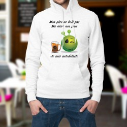 Sweatshirt blanc à capuche - Alien smiley - Bière autodidacte