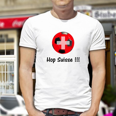 T-shirt football mode homme - Hop suisse, White, pour les supporters de la NATI