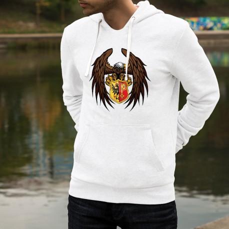 Sweatshirt blanc à capuche - Aigle et bouclier Genevois