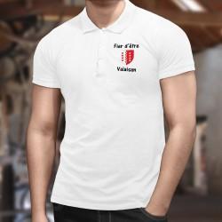 Polo mode homme - Fier d'être Valaisan, avec l'écusson du canton du Valais