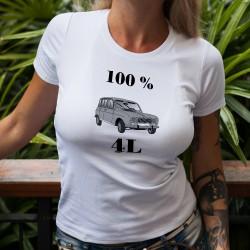 T-Shirt humoristique mode femme - 100 pour cent Renault 4L