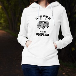 Donna moda Sweat bianco a cappuccio - Vintage VW Combi Flower Power