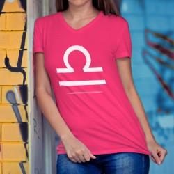 Frauen Mode Baumwolle T-Shirt - Sternbild Waage, 57-Fuchsia