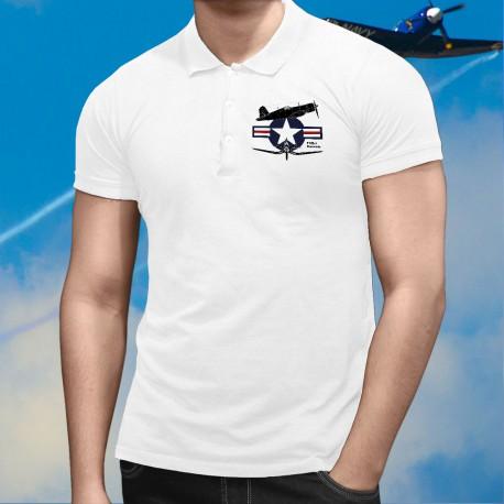 Avion de chasse ★ F4U-1 Corsair ★ Polo shirt mode homme avec la silhouette du Chance Vought F4U Corsair et les armes de l' USAF