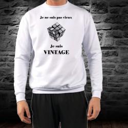 Men's Funny Sweatshirt - Vintage Rubik's cube, White