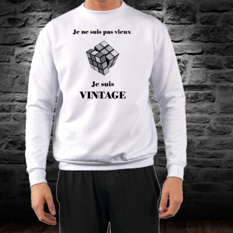 Uomo Funny Sweatshirt - Vintage Rubik's cube, Ash Heater