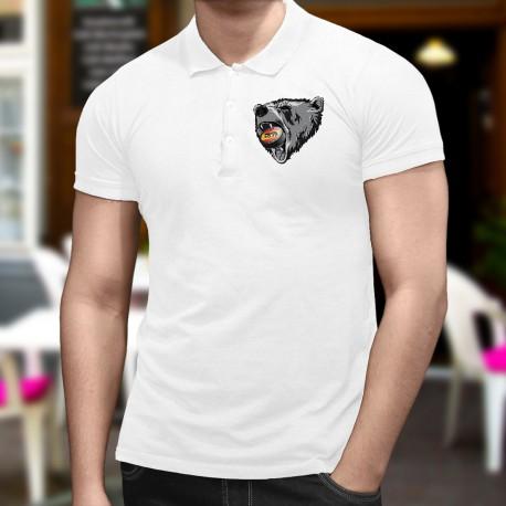 Uomo moda Polo Shirt - Orso e puck di hockey bernese